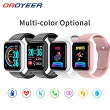 D20 Bluetooth akıllı saatler erkekler su geçirmez spor Fitness takip chazı akıllı bilezik kan basıncı nabız monitörü Y68 Smartwatch