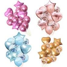14pcs Confetti Ar Balões de Festa Balões Metálicos Balão Feliz Aniversário Fontes do Partido Do Chuveiro Do Casamento Balões De Hélio