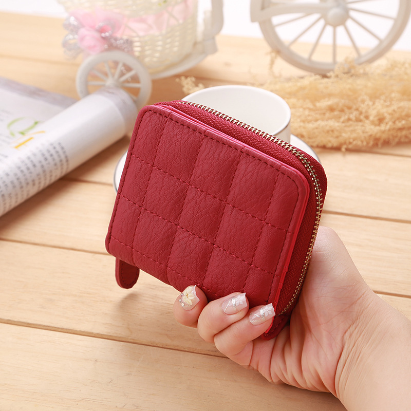 Fashion plaid ladies small purse leather short womens purses coins and cards square zipper female money bag New womens wallet