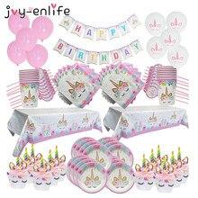 Unicorn ספקי צד ילדים 1st יום הולדת דקור נייר כוסות צלחות מפת מפיות באנר עוגת טופר תינוק מקלחת ספקי צד