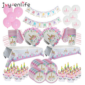 Unicorn Party Supplies Kids 1st Birthday Decor Paper Cups Plates Tablecloth Napkin Banner Cake Topper Baby Shower Party Supplies