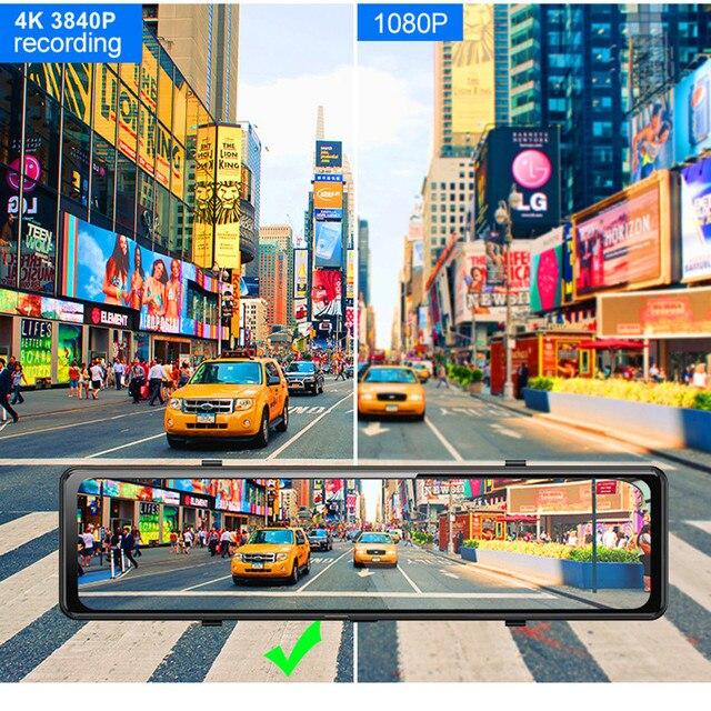 "Car DVR 2160P 12"" 4K Sony IMX415 Rear View Mirror Camera GPS FHD 1080P Rear Camera Dash Cam Video Recorder Registrar with Mount 4"