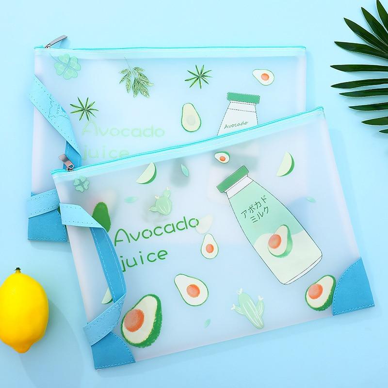 Cute Pvc Half Transparent A4 A5  Avocado Fruit Document Bags For School Kids Office Supply Kawaii Storage Filing Bags