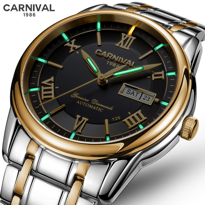 Relogio Masculino CARNIVAL Brand Luxury Watch Men Waterproof Tritium Luminous Automatic Mechanical Sport Wrist Watch Clock Saat