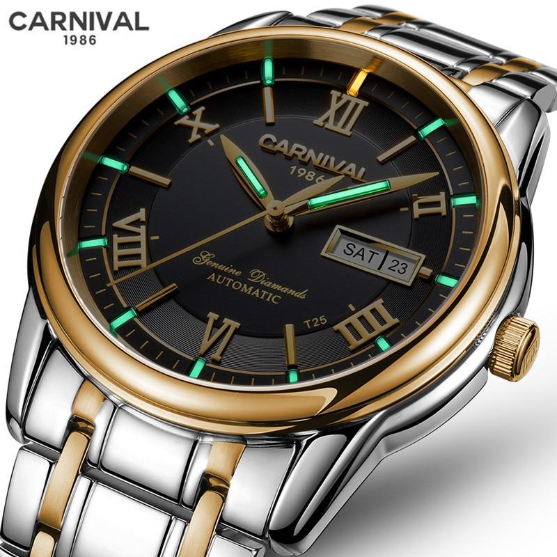 Relogio Masculino CARNIVAL Brand Luxury Watch Men Waterproof Tritium Luminous Automatic Mechanical Sport Wrist Watch Clock Saat