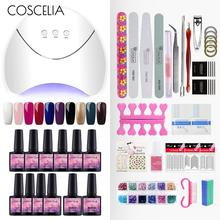 COSCELIA 36W LED Nail Polish Dryer Lamp Nail Art Manicure Tool 10 Colors Gel Nail Polishes UV Nail Set For Manicure Set uv gel nail art full set 36w uv led ultraviolet phototherapy lamp dryer nail brushes multiple nail glue complete nail art set