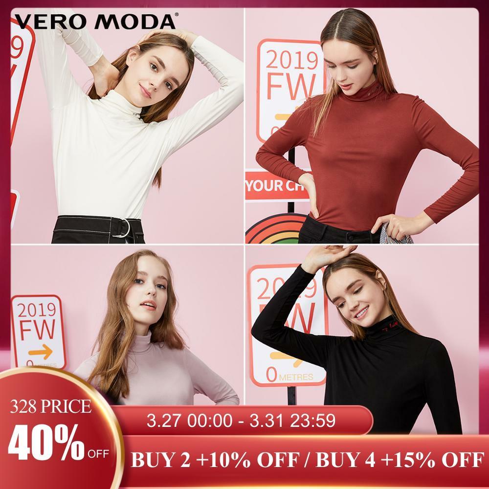 Vero Moda Women's High-necked Long-sleeved Stretch Base T-shirt Top | 319302506