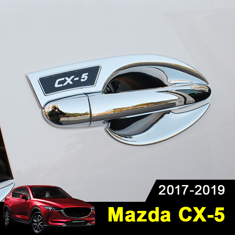 Car External Outer Door Handle Catch Cover Door Bowl Protection Trim Sticker For <font><b>MAZDA</b></font> CX-5 <font><b>CX5</b></font> CX 5 2017 2018 <font><b>2019</b></font> <font><b>Accessories</b></font> image