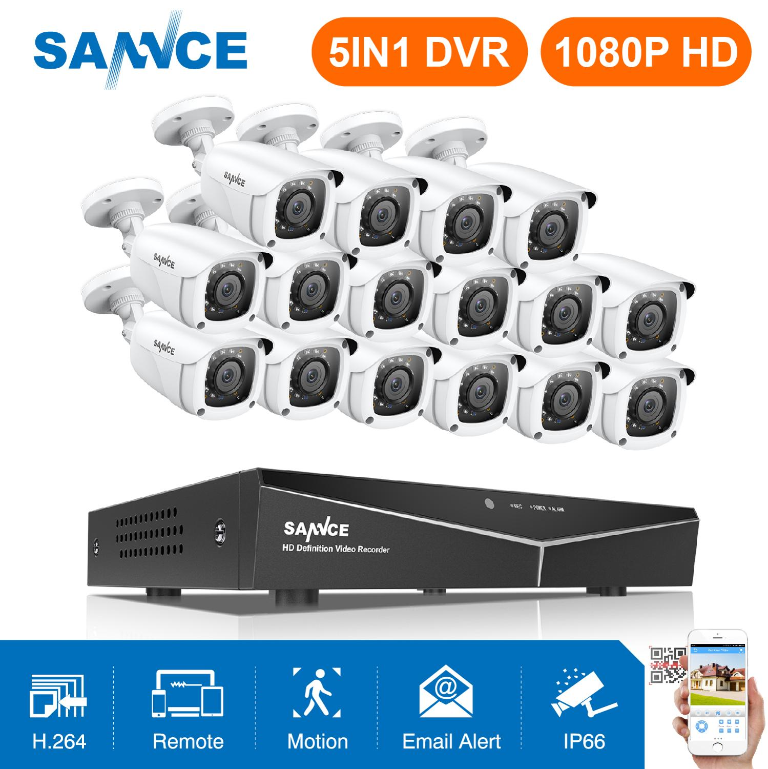 SANNCE 16CH 1080P Security CCTV System With 5IN1 1080N DVR 12X 16X 1080P IR Outdoor Weatherproof Camera Video Surveillance Kit