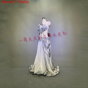 Image 5 - Customized Belly Dance Ribbon Bra Applique Skirt Women Oriental Indian Drum Dance Competition Performance Costume Stage We