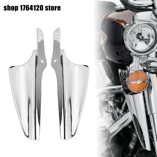 Motorcycle Chrome Fork Mount Wind Deflectors For Harley Touring Road King Classic FLHRC Street Glide FLHX Electra Glide Standard