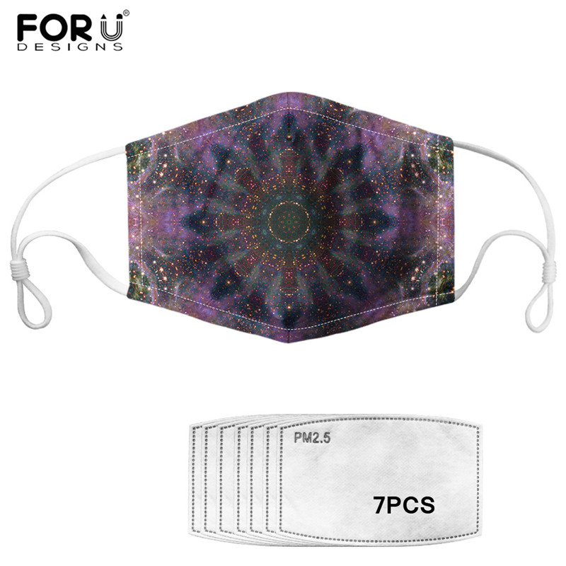 Bohemia Galaxy Print Face Mask&7Pcs Filter Colorful Star Universal Design Mouth-Muffle Unisex Outdoor PM2.5 Mask
