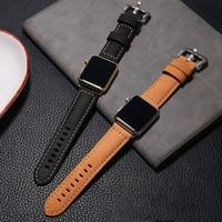 Pasek z prawdziwej skóry dla pasek do Apple watch 44mm/40mm pasek do iwatch 38mm 42mm Retro bransoletka watchband zegarka Apple watch series 5 4 3 2