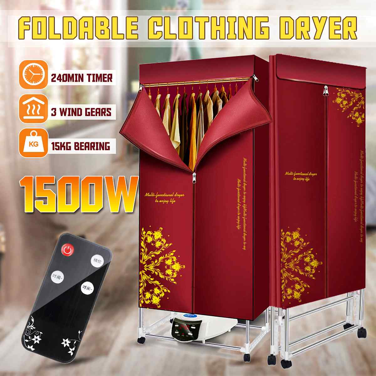 1500W Electric Cloth Dryer 110V-240V Household Portable Baby Cloth Shoes Boots Dryer Power Motor Drying Warm And Laundry Garment