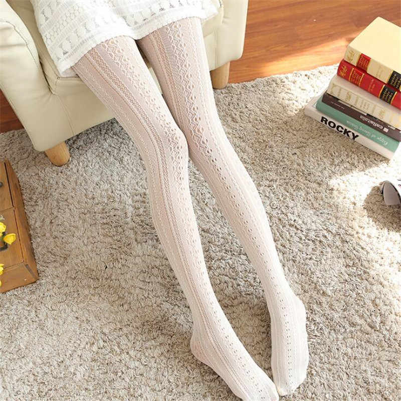 Femmes filles Kawaii collants Sexy dentelle collants printemps automne noir blanc Lolita sans couture collants