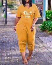 S-5XL feminino manga curta larga solta macacão verão casual com decote em v bolso macacões esportivos moda playsuits 2021 quente