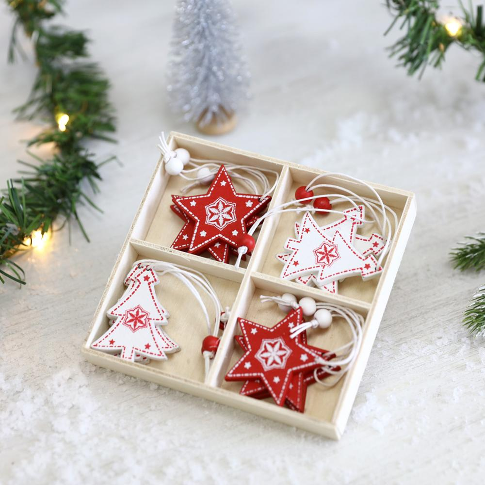 Details about  /1PC 3D Christmas Ornament Wooden Hanging Star Xmas Tree Decorations For Parlb