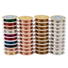 Pandahall 10 rollos de cable de cobre para joyería para fabricación de joyería DIY de plata de oro de Color mixto 0,2mm 0,3mm 0,5mm 0,6mm 0,8mm 1mm