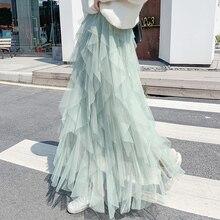Fashion Tutu Tulle Skirt Women Long Maxi Skirt 2020 Spring  Korean Black Pink High Waist Pleated Skirt Female