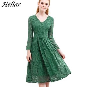 Image 1 - HELIAR Dress 2020 Summer Women Hollow Out One piece Green Leaf Pattern Laced Up Dress Casual Knee Elastic Waist Dress Women