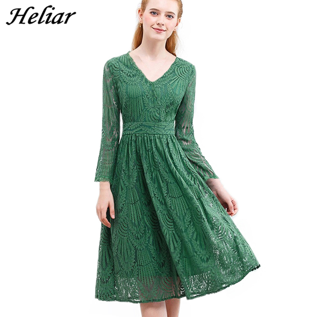 HELIAR Dress 2020 Summer Women Hollow Out One piece Green Leaf Pattern Laced Up Dress Casual Knee Elastic Waist Dress Women