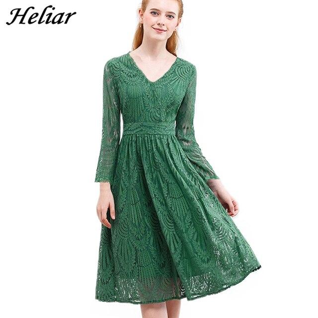 HELIAR Dress 2020 Summer Women Hollow Out 원피스 그린 리프 패턴 레이스 업 캐주얼 무릎 탄성 허리 드레스 여성