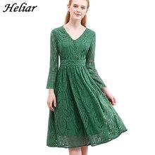 Heliar Jurk 2020 Zomer Vrouwen Hollow Out Een Stuk Groen Blad Patroon Laced Up Jurk Toevallige Knie Elastische Taille jurk Vrouwen