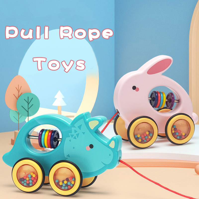 Baby Learn Walking Toy Kids Pull Rope Toy Animal Mode Educational Hauling Toys Hand Cart  Rattles For Infant Toddler Learning