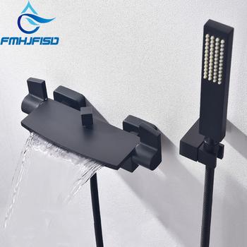 FMHJFISD czysta czerń ukryty prysznic kran do łazienki wodospad bateria do wanny i prysznica ścienny mikser wanna z kranu tanie i dobre opinie CN (pochodzenie) We współczesnym stylu Bathtub Faucet ciepła i zimna woda Pojedynczy uchwyt z podwójnym układem sterowania