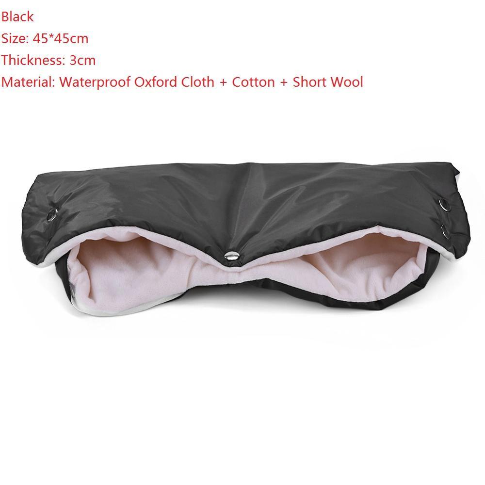 Warme/зимние варежки на коляску, ветрозащитные перчатки для новорожденных, непромокаемые флисовые Детские коляски, аксессуары - Цвет: Black