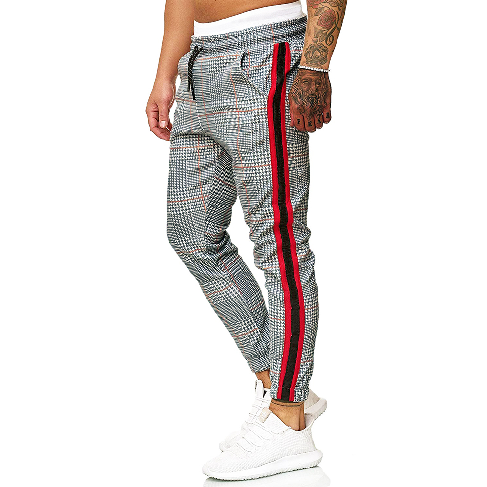 New Casual Plaid Ankle-Length Pants Men Trousers Hip Hop Jogger Pants Men Sweatpants Japanese Streetwear Men Pants 2020