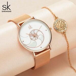 Image 3 - Shengke 여자 패션 쿼츠 시계 레이디 메쉬 손목 시계 아내를위한 고품질 캐주얼 방수 손목 시계 선물 2020