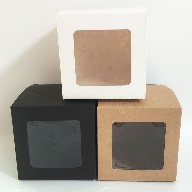 10 шт./лот 10x10x10 см белая черная Крафтовая оконная коробка, складные упаковочные подарочные коробки вечерние вечеринки, кексов, дня рождения, ...
