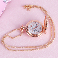 cartoon quartz pocket watch girl student simple hollow out renovate Children watch Necklace table