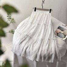 2020 Summer New A-Line Skirt Women Stretch High Waist Women Boho White Long Casual Skirt With Lining Faldas Jupe Femme Saia K521 k521 16dx expansion i o module16di dc24v new
