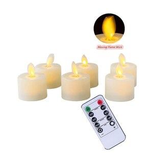 Набор из 6 пультов дистанционного управления или без пульта дистанционного управления, беспламенный светодиодный светильник для танцев с т...
