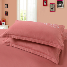 2pcs 48x74cm Solid Color Cotton pillowcase Brief Style printed Pillow Case Cover For Bedroom Use