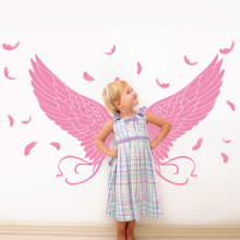 [shijuekongjian] Feather Wings Wall Sticker PVC Material Pink Color Angle Plumage Decals for Kids Rooms Decoration