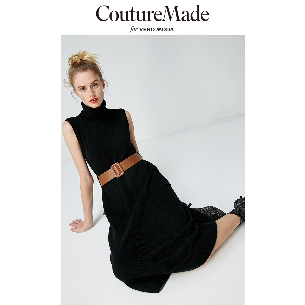 Vero Moda Women's Couturemade High Neck Knitted Sleeveless Medium Length Party Dress | 319146513