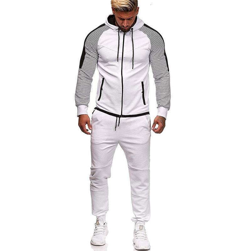 Marque survêtement pour hommes deux pièces blanc hommes survêtements Hoodies 2019 vêtements pour hommes Sport survêtement hommes ensemble vêtements pour hommes automne - 3