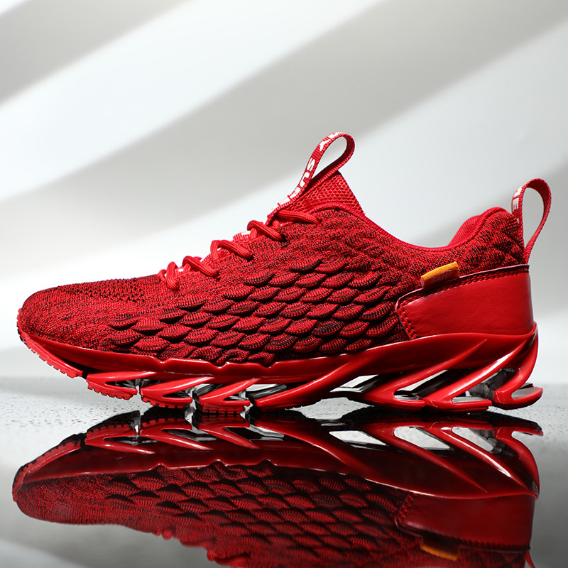 Autumn New Men's Flying Woven Shoes Trend Fish Scale Mesh Face Knife Mesh  Breathable Sports Running