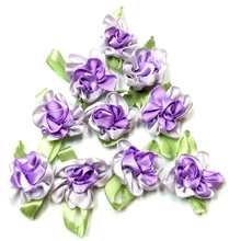 40pcs purple ribbon flowers handmade apparel sewing appliques DIY accessories A571