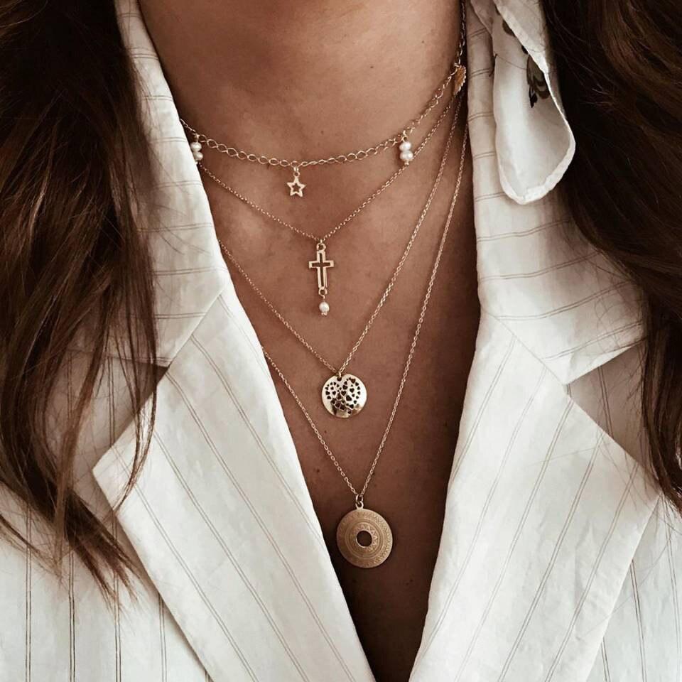 IF ME, винтажное многослойное ожерелье с кулоном из кристаллов, женские бусы золотого цвета, Лунная звезда, рога полумесяца, колье, ожерелье, ювелирное изделие, Новинка - Окраска металла: DY5436