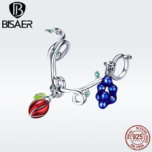 BISAER Authentic 925 Sterling Silver Colorful Fruit Pendant Charm For Girl S925 DIY Charm Fits Pan Bracelet Necklace GXC1138 kamaf 100% authentic 925 sterling silver heart shaped charm beaded bracelet diy necklace pendant