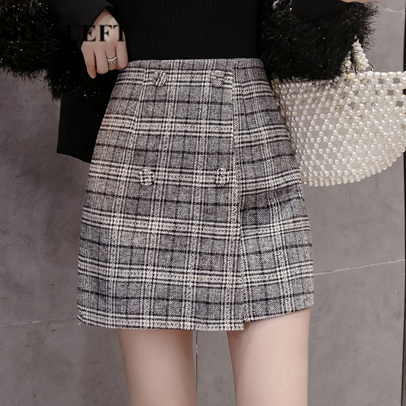 REALEFT 2019 Women's Woolen Vintage Plaid Mini Wrap Skirts Autumn Winter High Waist Casual Skater Skirts For Female New Arrival