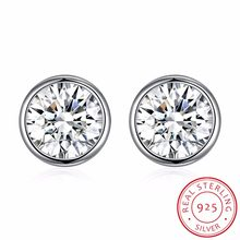 Lekani Crystals From Swarovski Simple Round Stud Earrings S925 Silver For Women Girls Man Piercing Classic Fashion Accessories(China)