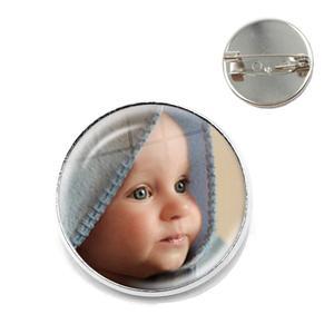 Custom Brooch Photo Mum Dad Baby Children Grandpa Parents Custom Designed Logo Photo Gift For Family Anniversary Collar Pins