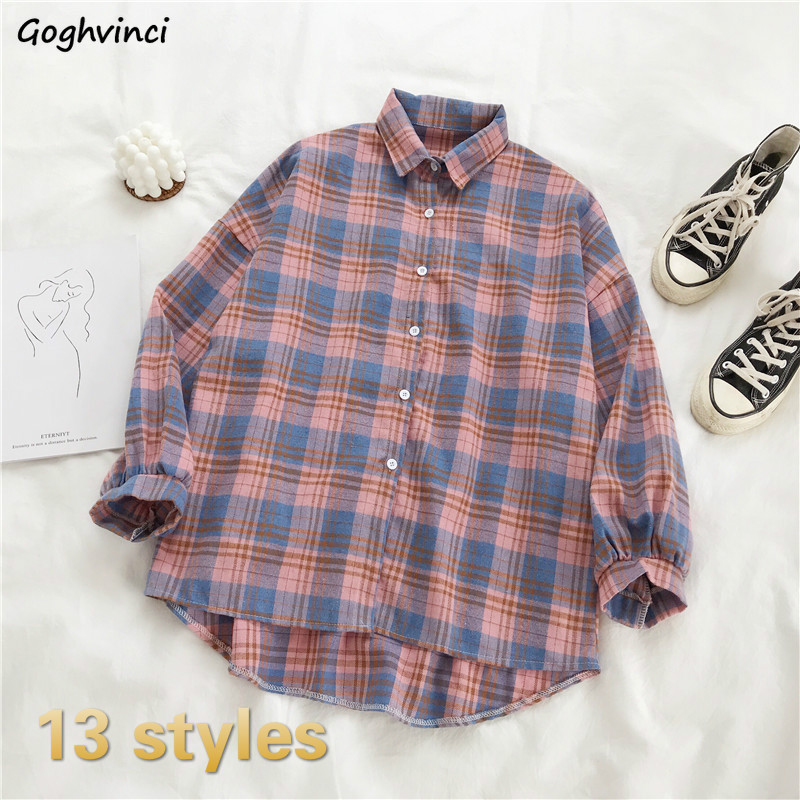 Shirts Women Plaid Various Colors Long Sleeve Loose Korean Style Fashion Leisure Casual Retro Streetwear Womens All-match Spring