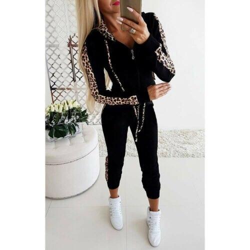 2PC Autumn Winter Fashion Tracksuit Splice Fleece Leopard Print Hoodies Pants Set Sports Tops Long Suit