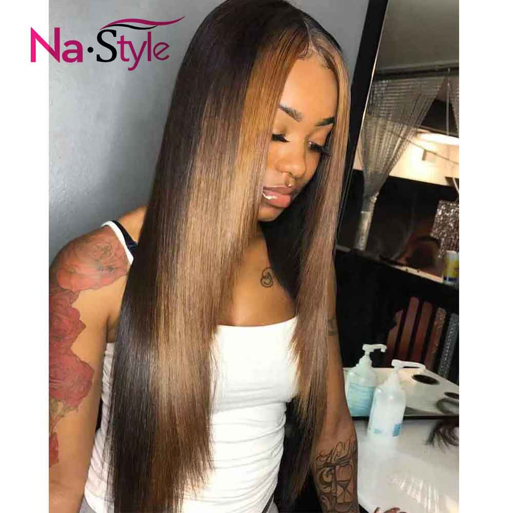 1b 27 Human Hair Wig Colored Ombre Lace Front Wig Straight 360 Lace Frontal Wig Pre Plucked With Baby Hair Full Lace Wig 150%